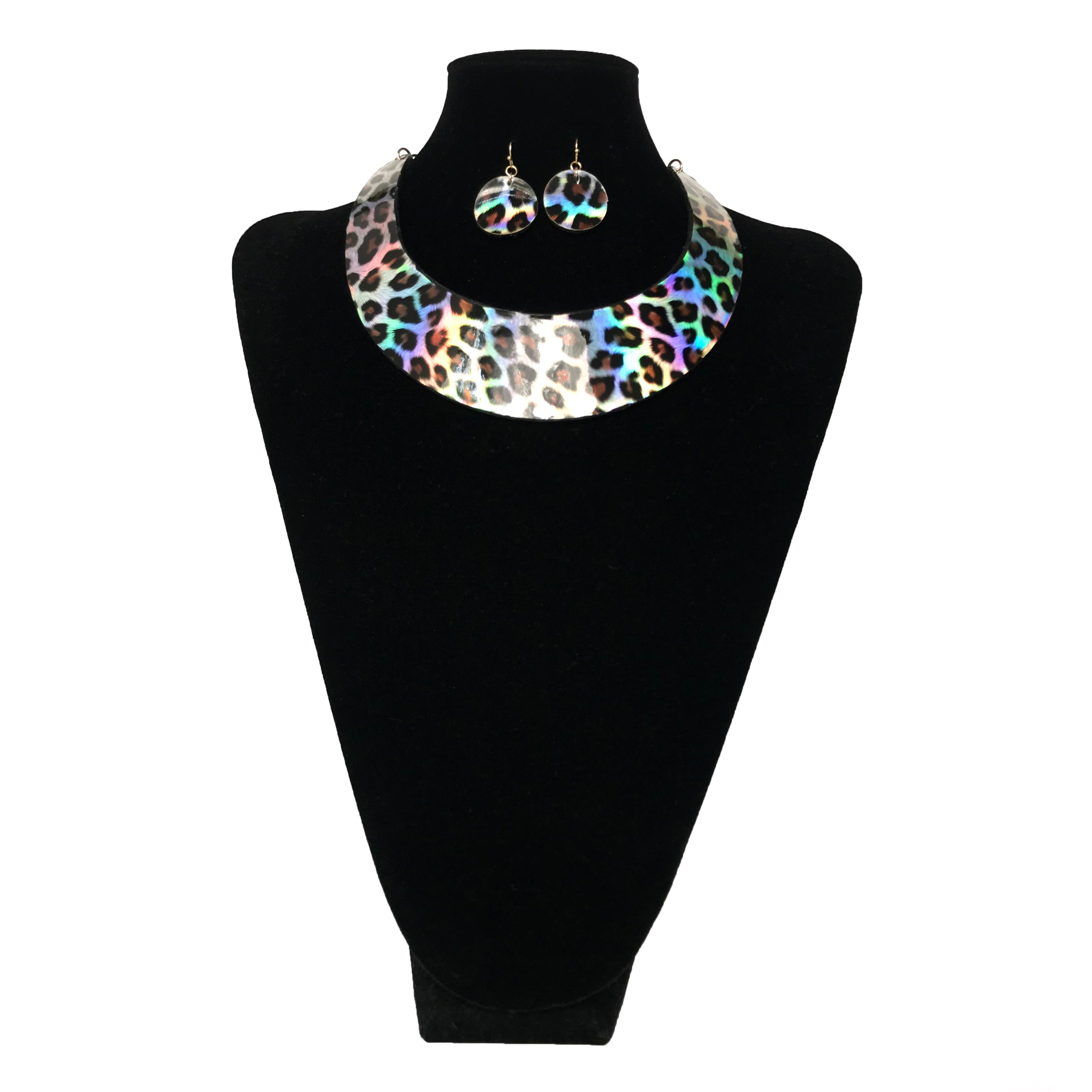 J Fashion Leopard Pattern Necklace Set - White