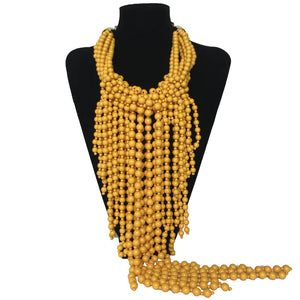 J Perl Long Fringed Yellow Drop Necklace