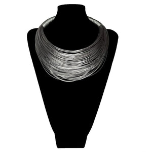 J Silver Wrap Thread Necklace