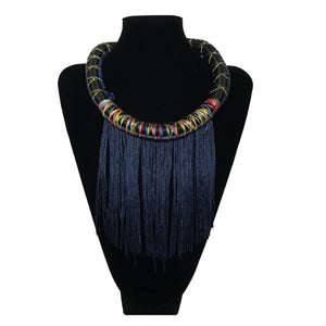 Panther Fringe Necklace - Blue