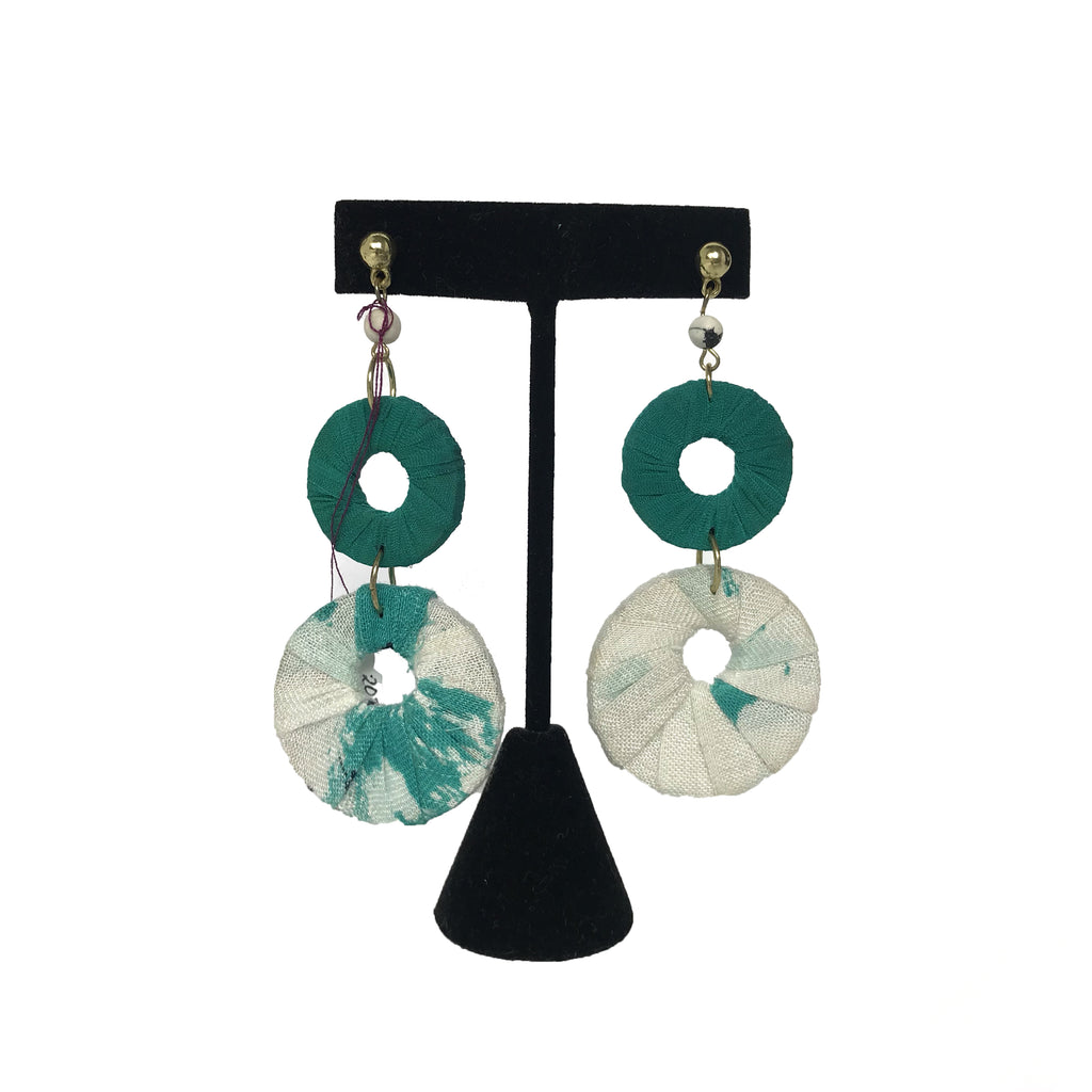 Teal Double Circle Earrings