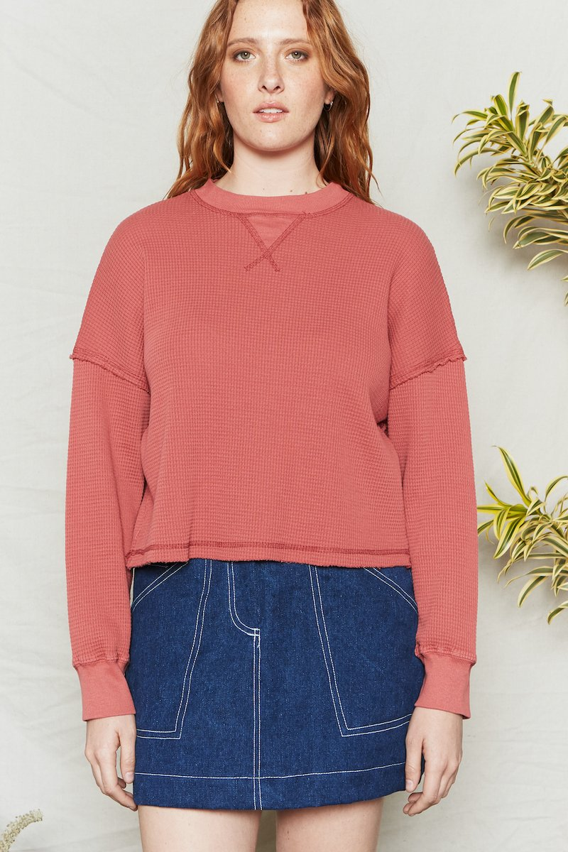 Waffle Knit Pullover - Metanoia Boutique