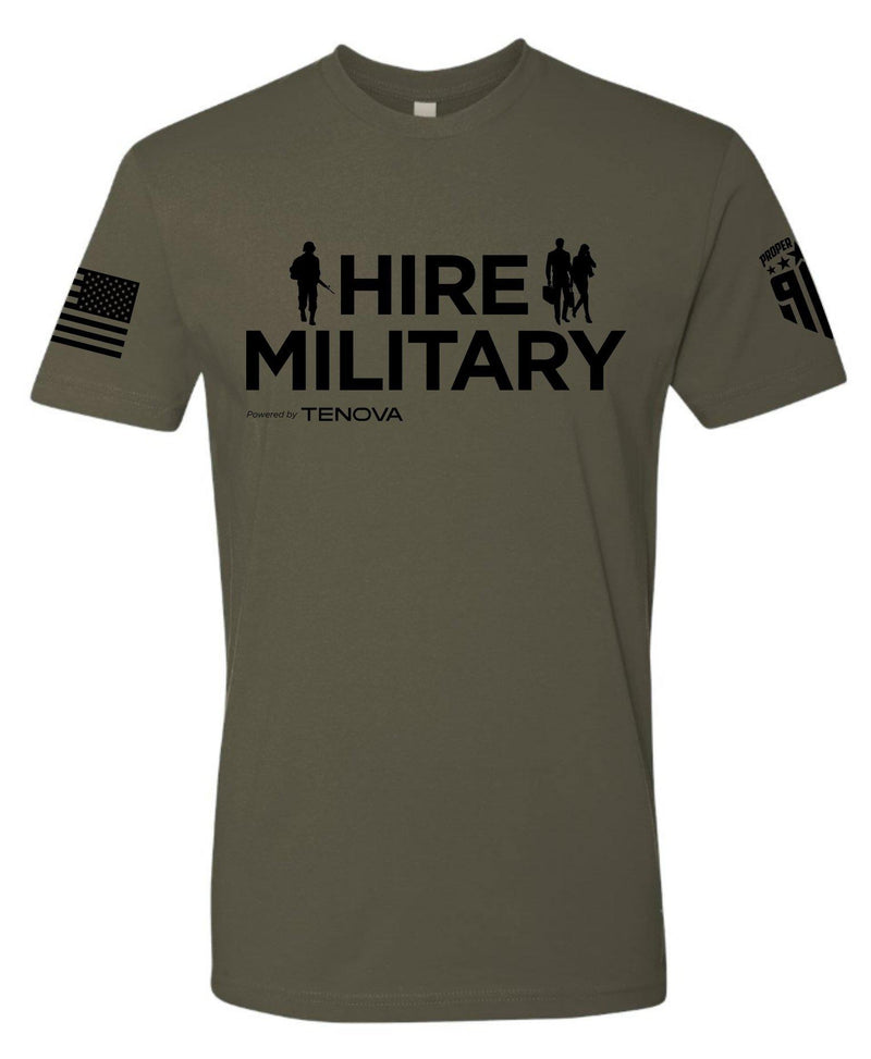 HireMilitary - Black Logo - Custom - Men's OD Green Shirt