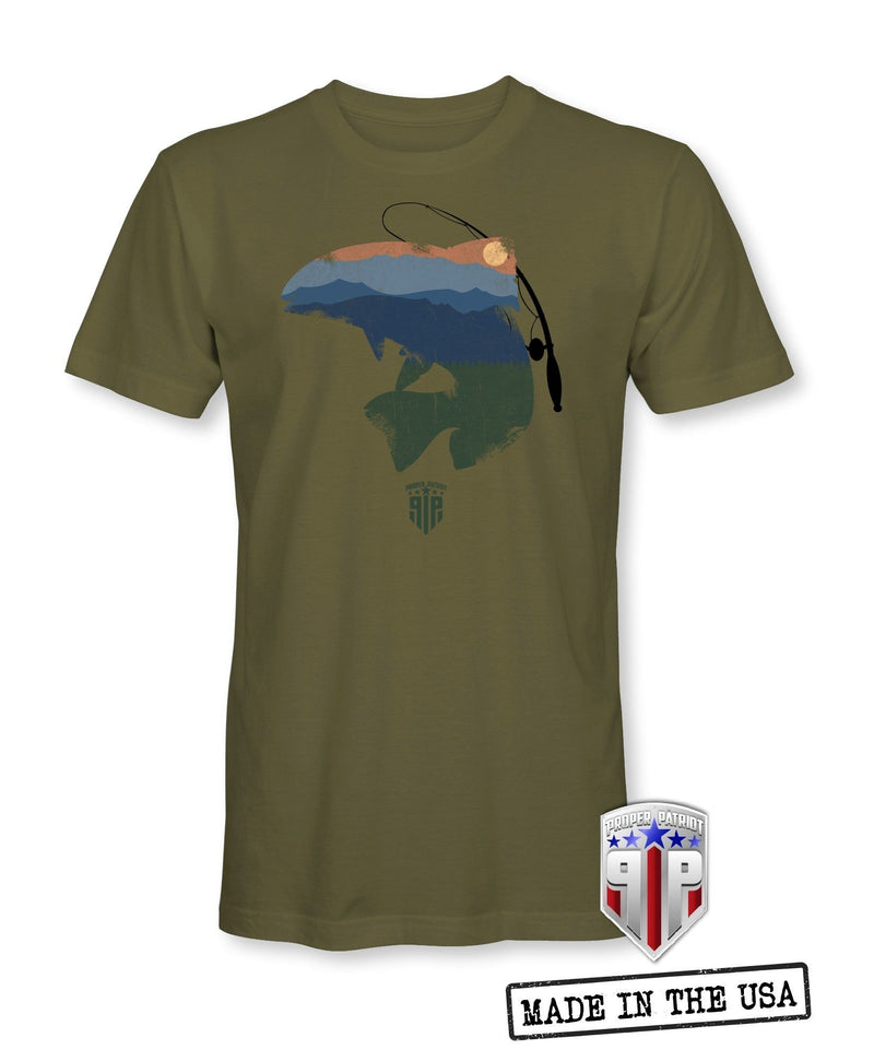 Trout Fishing Shirt - Mountain Sunset - Great Outdoors - Patriotic Shirts for Men