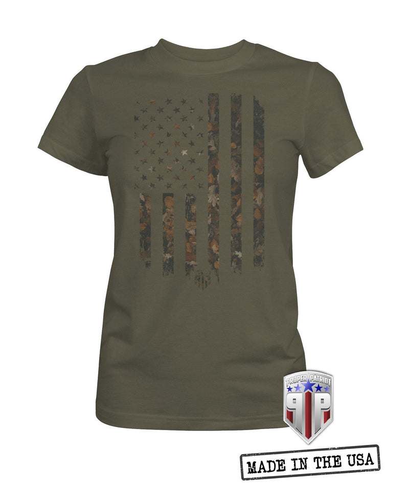 Camo Fall Leaves Flag - American Spirit Apparel - USA Shirts - Women's Patriotic Shirts