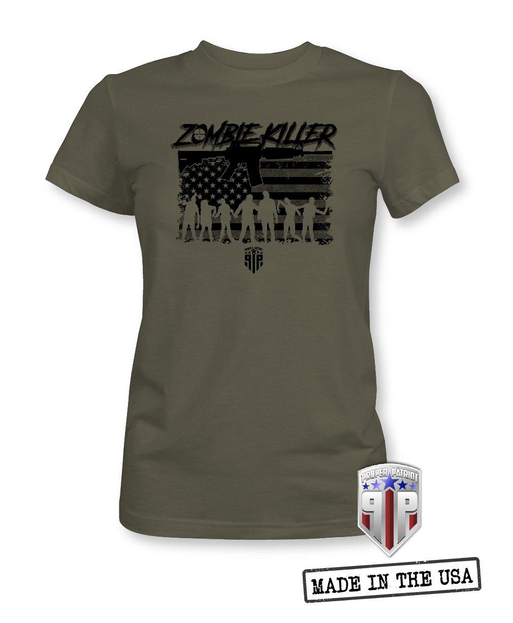 Halloween Zombie Killer - Walking Dead Subdued American Flag Apparel - Women's Patriotic Shirts
