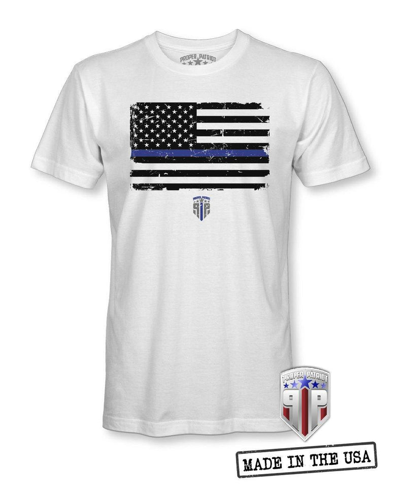 Blue Line In Distress - Blue Line Shirts - Patriotic Shirts for Men