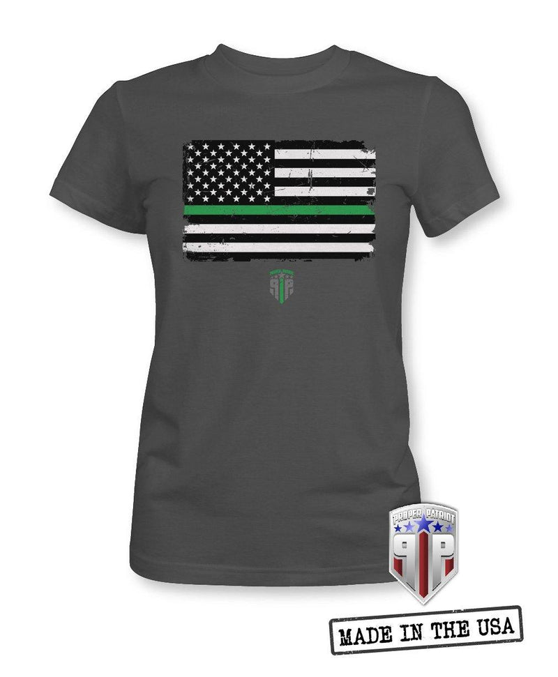 Green Line In Distressed Flag -  Veteran Support Shirts - Women's Patriotic Shirts