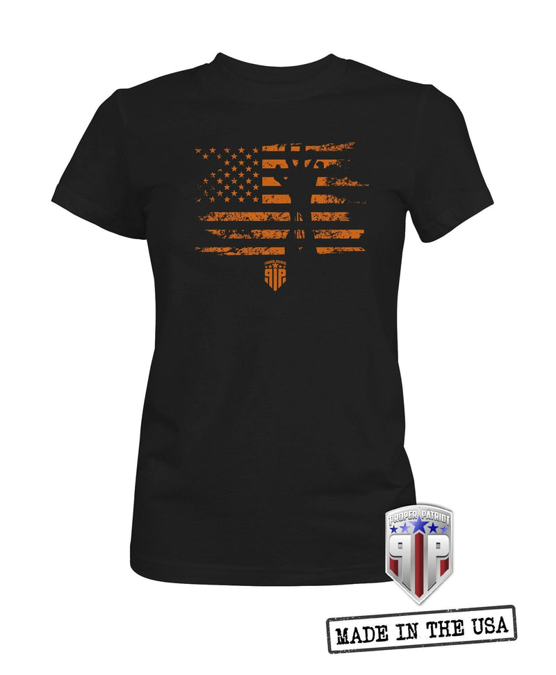 Orange Zombie Patriotic Flag - Spooky USA Halloween Flag Apparel - Women's Patriotic Shirts