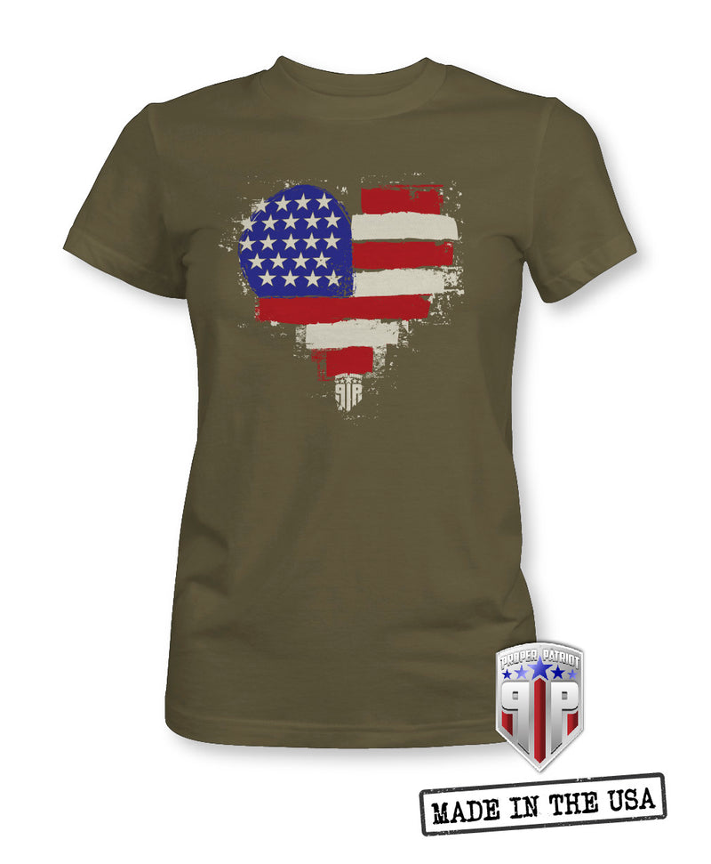 Love American Flag Heart - USA Apparel Shirts - Women's Patriotic Shirts
