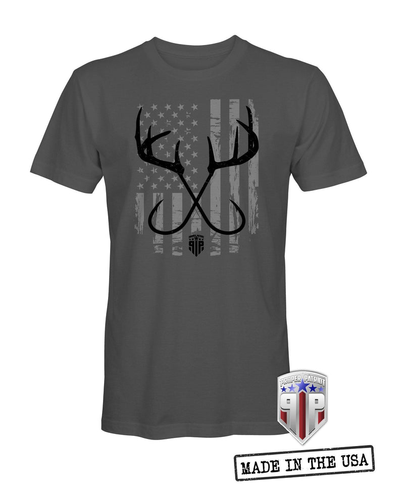 Hooks and Horns - American Flag Apparel - USA Shirt - Patriotic Shirts for Men