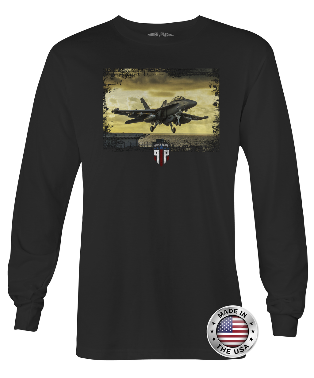 Sunset Takeoff Over Water - Unisex - Long Sleeve Shirt - Proper Patriot