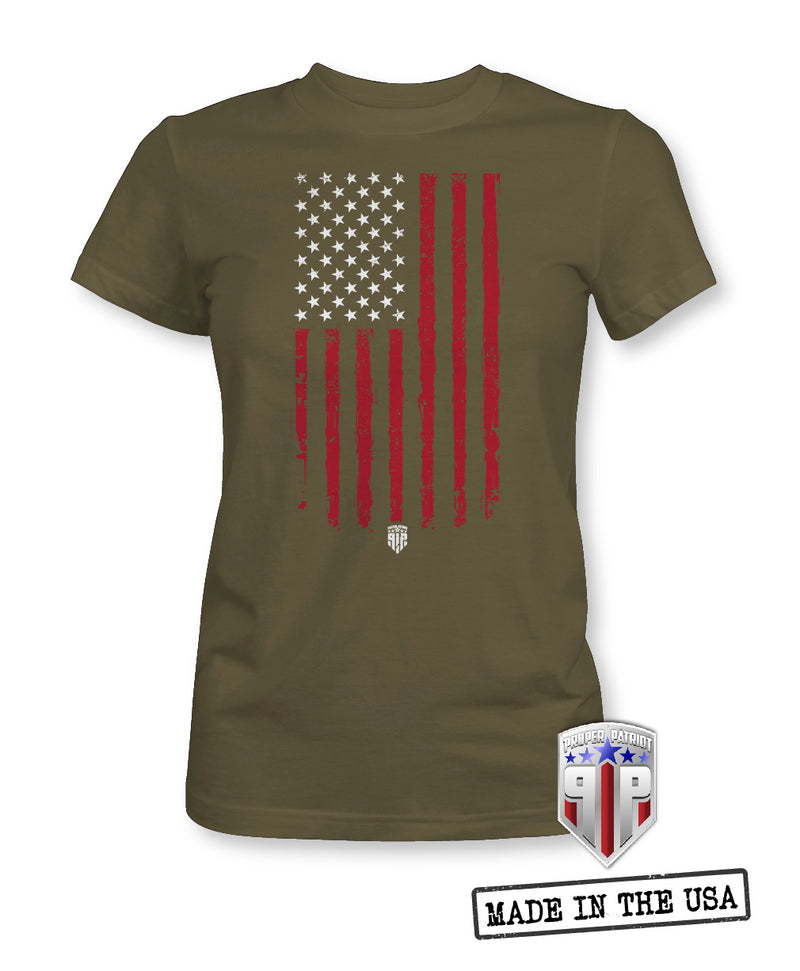 Tattered American Flag - USA Apparel Shirts - Women's Patriotic Shirts