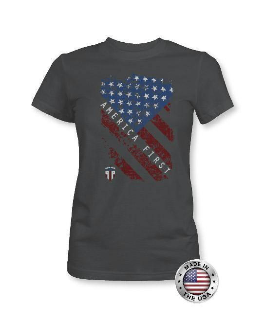America First - American Flag Shirt - Women's Patriotic Shirts