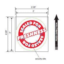 "Load image into Gallery viewer, Tamper Proof Labels, Round Secure Label Seal, 2"" Circle, 500 Labels/Roll, 4 Rolls/Box"