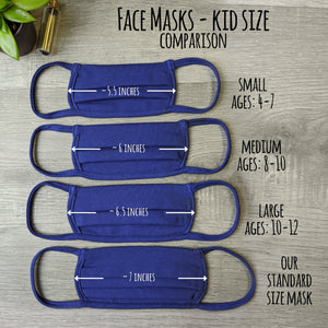 Kid's Size Face Mask - Pleated Double Layer Cotton Filtration With Cotton Ear Loops