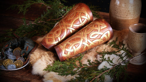 Custom Painted and Tooled Bracers