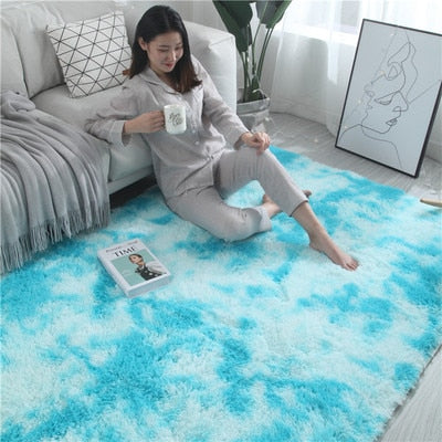 European long hair fashion bedroom carpet bay window bedside mat washable personality blanket Gradient color living room rug