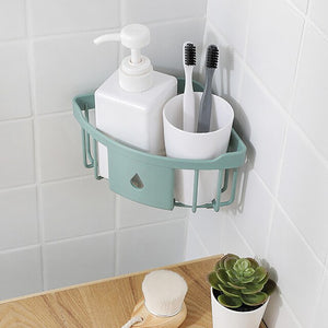 Plastic Wall Hanging Triangle Rack Bathroom Kitchen wall mount Storage Rack Organizer Drain Shower Shelf Bathroom Accessories #Z