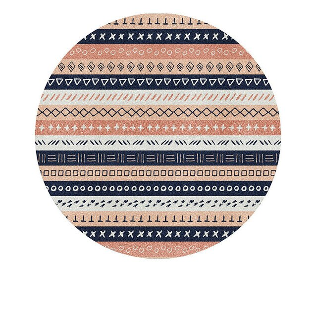 Nordic Style Round Carpet For Living Room Striped Vintage Bedroom Rug Soft Kids Play Mat Computer Chair Mat Cushion Home Decor