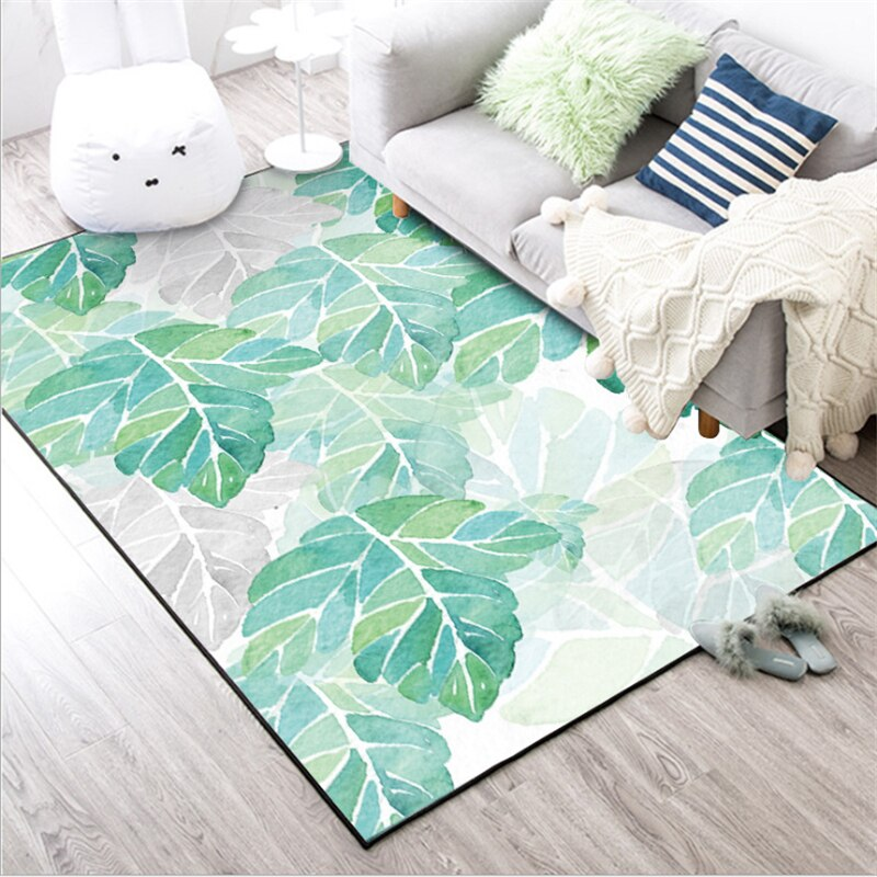 Nordic Minimalist Pale Green Plant Leaf Pattern Carpet Carpets For Living Room Coffee Table Area Rugs Non-slip Floor Mats