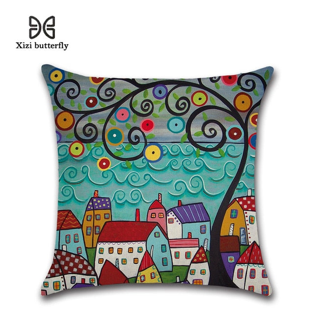 Hand-Painted Retro Rural Color Cities 45*45cm Cushion Cover Linen Throw Pillow Car Home Decoration Decorative Pillowcase
