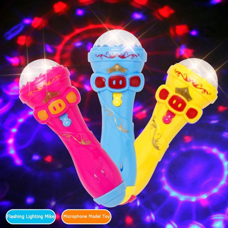 Creative Microphone Model Lighting Toys Wireless Music Karaoke Flashing Projector Mike Kids Toy Gift