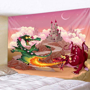 Two Dragons Fighting In Fire Castle
