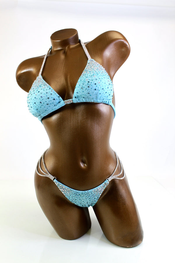 Final Sale Light Blue Gradient Crystals Bikini Suit