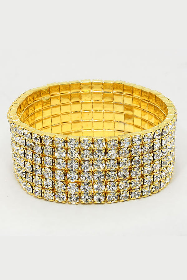 6-row Rhinestone Stretch Bracelet