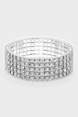 5-Row Rhinestone Stretch Bracelet