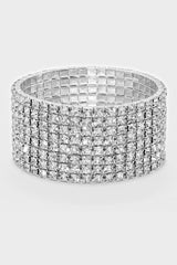8-Row Rhinestone Stretch Bracelet