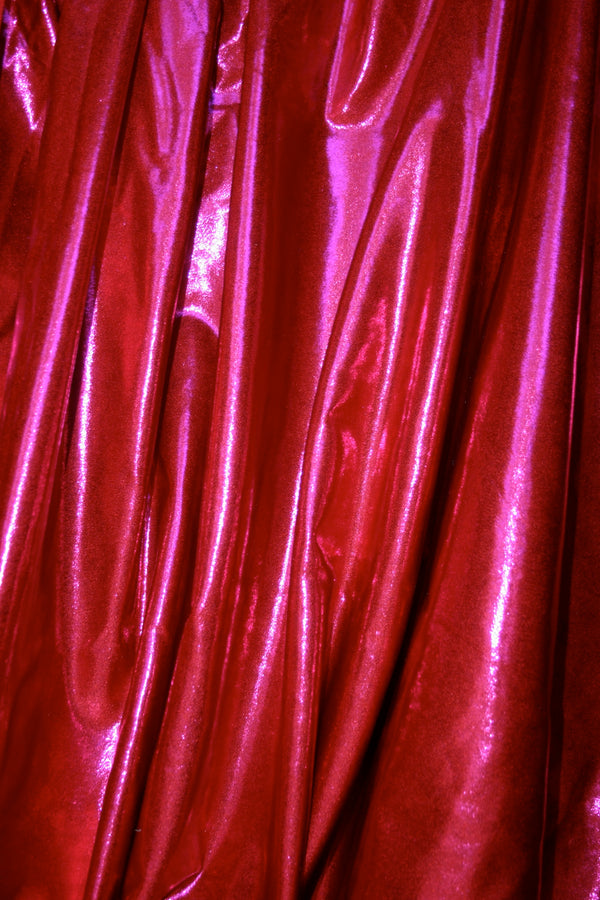 Raspberry Red Metallic Spandex