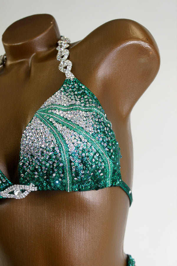 Deep Green Crystal Lines Figure Competition Suit