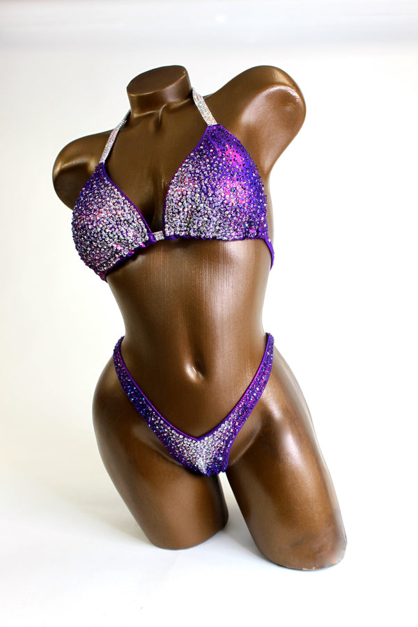 Purple Gradient Crystals Figure Competition Suit