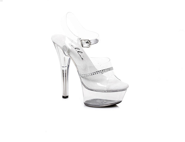 "Final Sale 601-Jewel Clear 6"" Heel"
