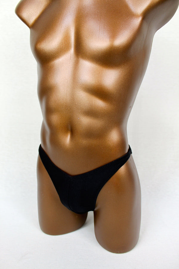 Black Metallic Spandex Posing Trunks