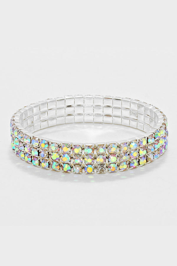 3-Row Rhinestone Stretch Bracelet AB