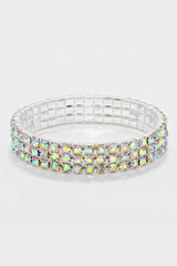 3-Row Stretchable Crystal AB Rhinestone Bracelet