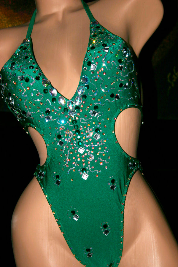 Emerald Green One-piece Figure Competition Suit