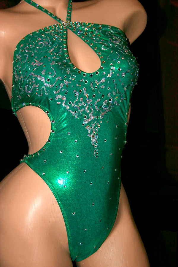 Metallic Green One-piece Figure Competition Suit