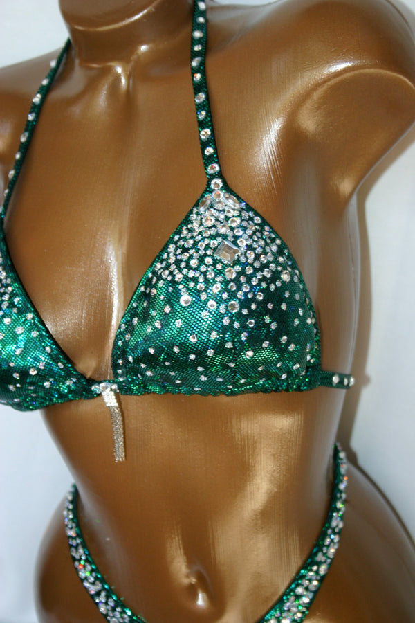 Deep Green Two-piece Figure Competition Suit