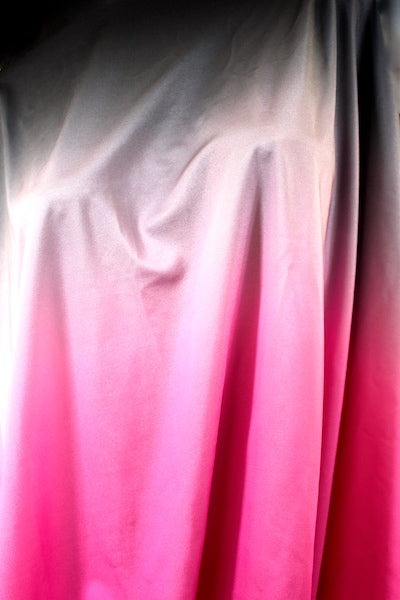 Black/Gray/Pink Ombre Satin Spandex
