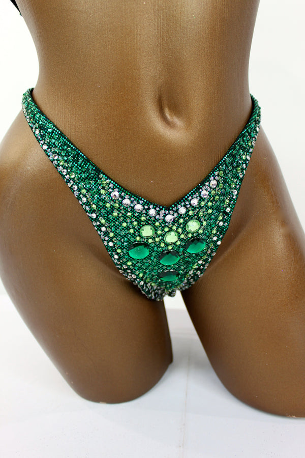 Dark Green Hologram Spandex Two-Piece Figure Competition Suit
