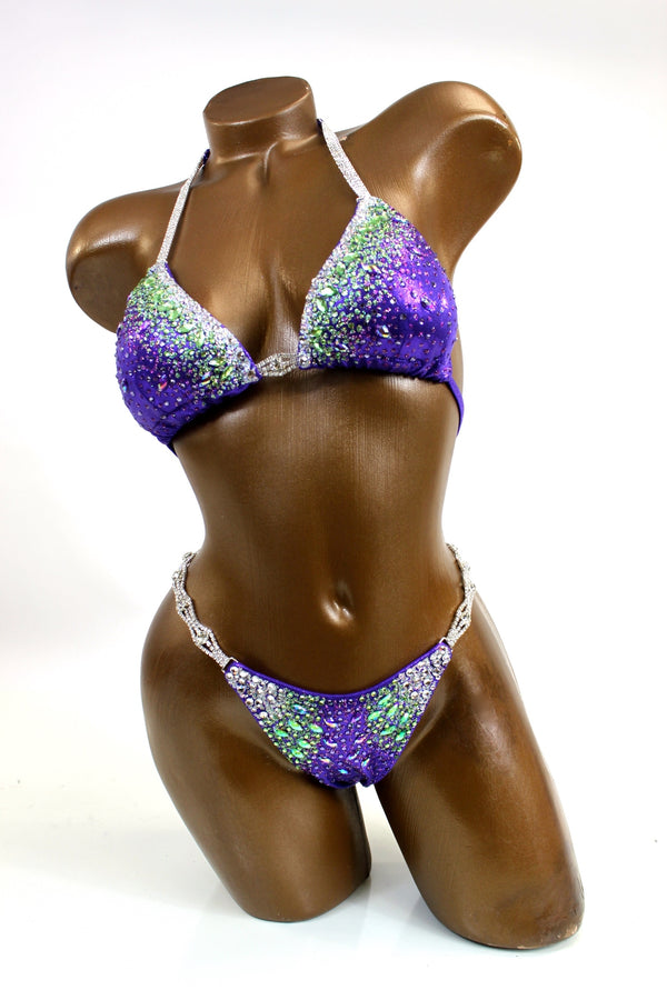 Purple Green Ombre Bikini Suit