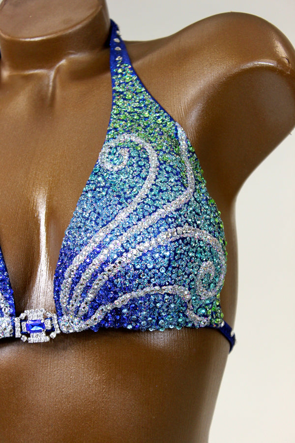 Blue/Green Shades Swirls Figure Competition Suit
