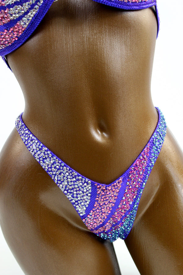 Periwinkle Gradient Crystals Figure Competition Suit