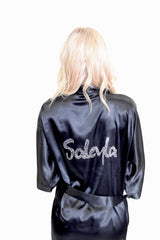 Custom Rhinestone Name Satin Robe
