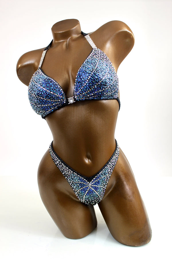 Blue Shades Sparkling Figure Competition Suit