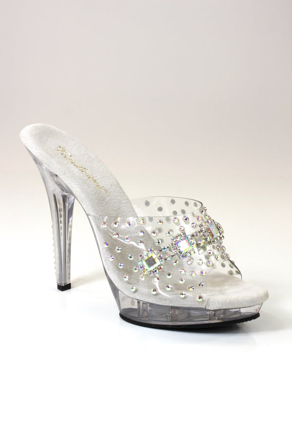 "Square AB Rhinestone Shoes 5"" Heel"